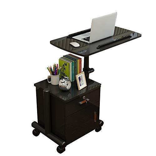 Laptopständer DD Laptop-Tisch, Beweglicher Nachttisch, Abnehmbarer Nachttisch 63-95 cm, Lagerschränke, Pflegetisch -Werkbank (Farbe : SCHWARZ)