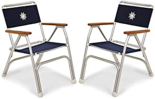 FORMA MARINE Set of 2 Navy Blue Deck Chairs, Boat Chairs, Folding, Anodized, Aluminium, Model M100NB
