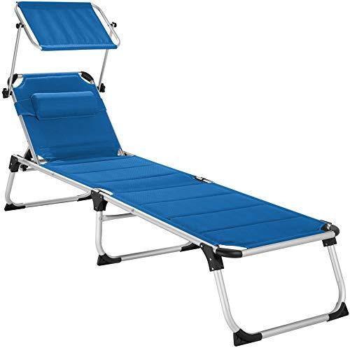 TecTake 800813 Tumbona, Tumbona para el jardín con Parasol Ajustable, Asiento Plegable para la Piscina, Mueble de Exterior (Azul)