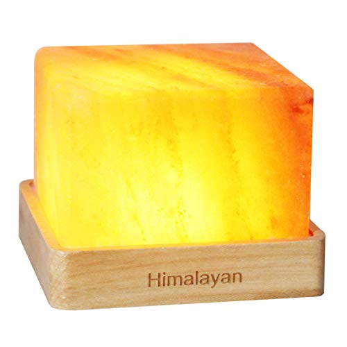Natural Himalayan Cordless Salt Lamp Rock Crystal Rechargeable(Built-in Battery) Present for Christmas Home Office (Warm Light)