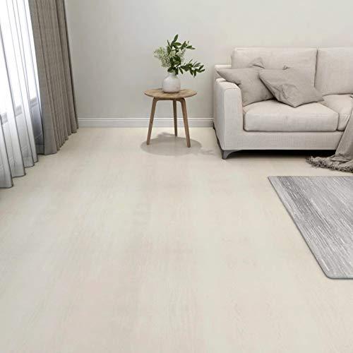 Tidyard Selbstklebende PVC Bodenplanken Fliesen 5,11 m² PVC Laminat Dielen, 55 STK. Beige