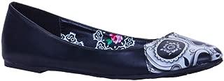 Women's Black Peek A Boo Flat Shoes