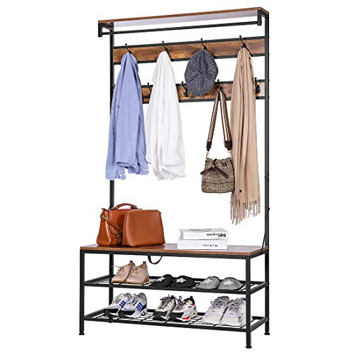 VIVOHOME 5-in-1 Entryway Hall Tree, Industrial Stand Organizer with Shoe Bench, Vintage MDF Wood Furniture with Stable Metal Frame