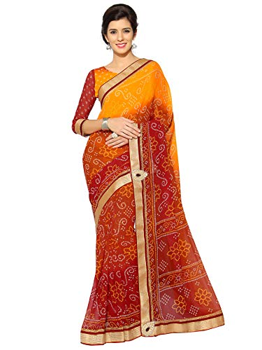Mirchi Fashion Mirchi Fashion Damen Indian Beautiful Sari mit Ungesteckt Oberteil/Top Bollywood Saree