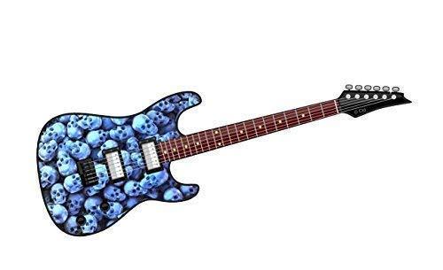 Cool Eléctrico Guitarra Diseño con Pila de Azul Calaveras Motivo Vinilo Pegatina...