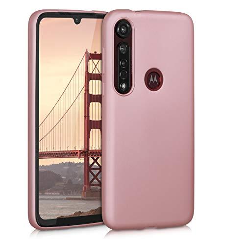 kwmobile Funda Compatible con Motorola Moto G8 Plus - Carcasa móvil de Silicona - Protector Trasero en Oro Rosa Metalizado