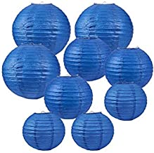 Balloonistics Round Paper Lanterns for Decorations 12 Inch-Set of 3 (Blue)