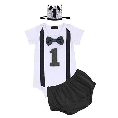 FYMNSI - Conjunto de 1 año de cumpleaños para bebé, de algodón, con pajarita de manga corta + pantalones cortos y corona para la cabeza, juego de 3 piezas Negro 01. 1 Años