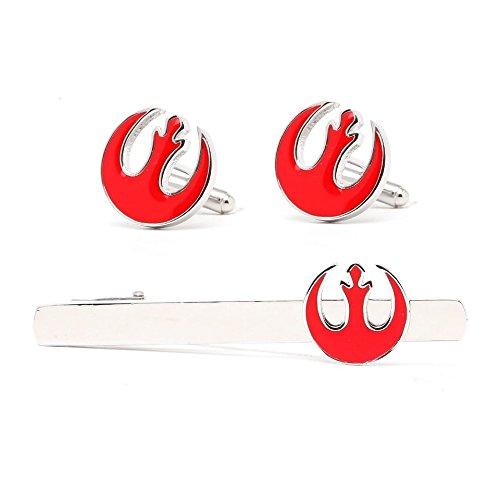 Star Wars Galactic Empire Allianz Starbird Party Logo Krawatte Clip Manschettenknöpfe Set Star Wars Kostüm Prop/Cosplay Krawattennadel Manschettenknöpfe Set, Rot