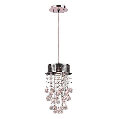 Worldwide Lighting Icicle Collection 1 Light Chrome Finish and Clear Crystal Mini Pendant 8' D x 14' H