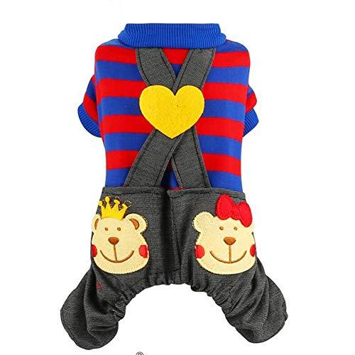 XY Hond Shirt Huisdier Kleding Kostuum Voor Kleine Hond Jumpsuit Student School Uniform Streep Decoratie Puppy Broek Denim Jeans Met Pocket