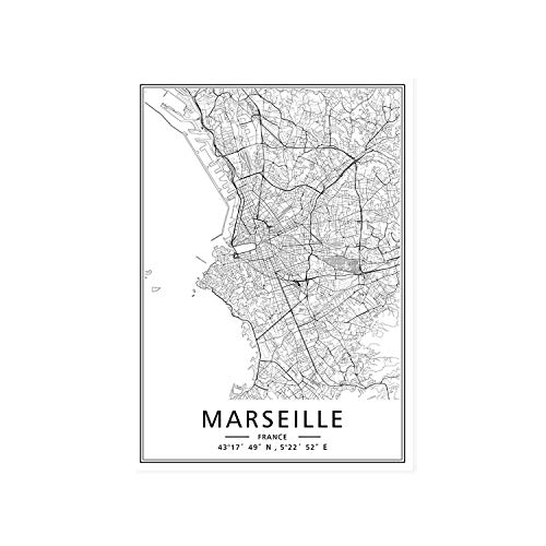 shop 1994 Minimalist Custom Made World City Maps Coordinate Black White Canvas Paintings Poster Print Nordic Wall Art Picture Home Decor-MARSEILLE-30x40 cm no Frame