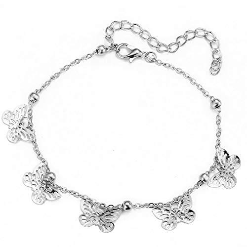 JIEERCUN Tobillera creativa de aleación hecha a mano con diseño de mariposa y mariposa, pulsera tobillera de joyería (color: plata hueca)