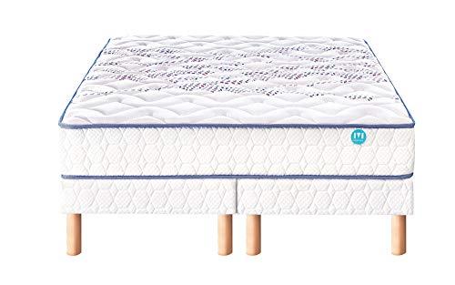 Ensemble Merinos MIMIC 520 Ressorts + 2 cm viscoélastique Confort Morphologique 160x190 avec 2 sommiers