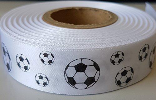 Geschenkband mit Fußball-Motiv, Satinband, 25 mm, White Ribbon/Black Print, 1 m