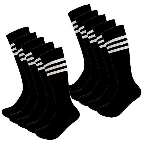 Kids Soccer Socks 4 Pack Boys Girls Cotton Team Socks Teens Children Soccer Socks (Shoe size 1-5 and Ages 8-11, Black)