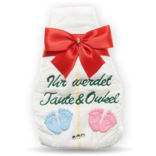 Ihr werdet Tante und Onkel   Tanjo bestickte Windel   Geschenk rot Schwangerschaft Überraschung Schwangerschaft, schwanger Überraschung, Tante Onkel werden, Tante und Onkel werden witzige Überraschung