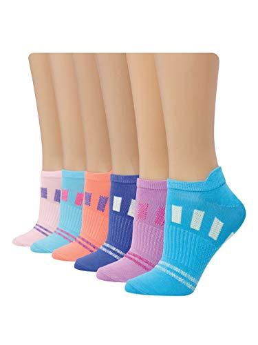 Hanes Women's Performance Cool Compression Heel Shield Socks 6 Pair Pack, Pink/Blue Design, Shoe Size: 5-9