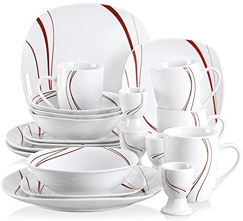VEWEET Bonnie 20 Piezas Vajillas de Porcelana Juegos con 4 Hueveras, 4 Tazas Mugs 350 ml, 4 Cuencos de Cereales, 4 Platos y 4 Platos de Postre para 4 Personas