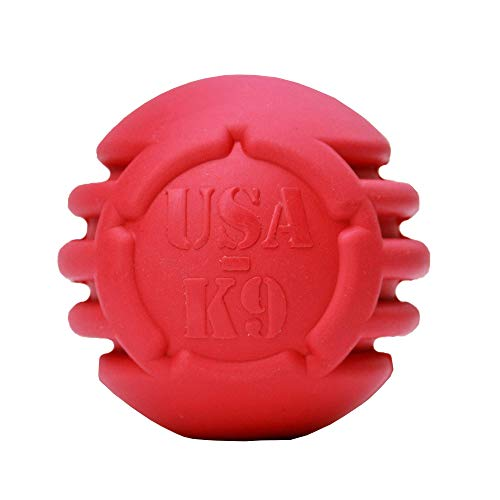 SodaPup USA-K9 Dog Toy - Natural Rubber Ultra-Durable Dog Chew Toy and Treat Holder - for Aggressive Chewers - Tough Dog Toy - Red -Large