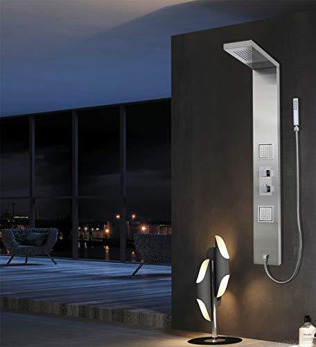 Elbe®Duschpaneel mit Thermostat aus gebürstetem Edelstahl 304, mit Kopfabdeckung, Handbrause und Bedienpaneel und Schlauch aus Metall, luxuriöse und wellness Dusche