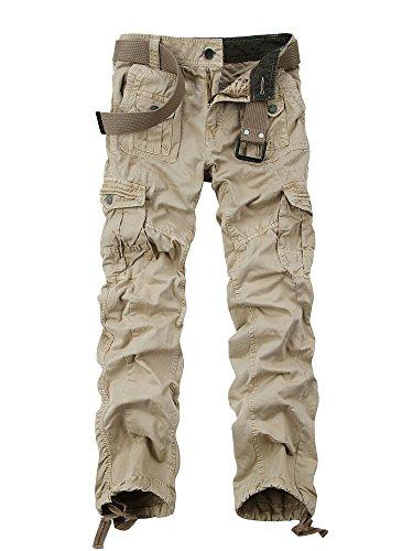 OCHENTA Homme Pantalon Cargo en Coton Multi Poches Type Mince #3380 Kaki W40