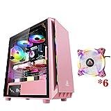 ピンクのゲーミングケース、ミッドタワーATX/M-ATX/ITX PCゲームコンピュータケース、デスクトップPCのコンピュータ用磁気ガラスサイドプレート、USB 3.0、扇風機で着色ライト、 (Size : 6 fan)