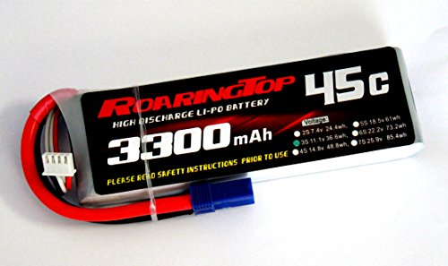 RoaringTop LiPo Battery Pack 45C 3300mAh 3S 11.1V with EC5 Plug for RC Car Boat Truck Heli Airplane