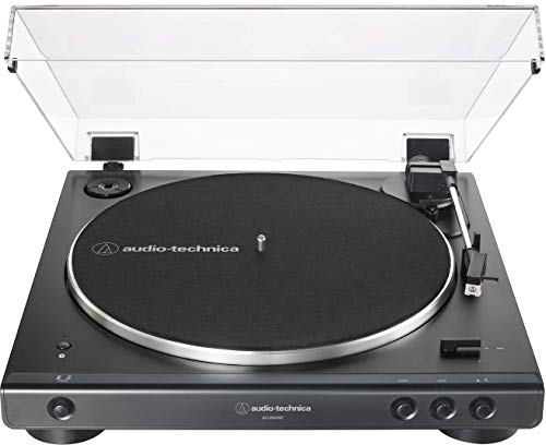 Audio-Technica at-LP60XBT-BK Fully Automatic Bluetooth Belt-Drive Stereo Turntable, Black, Hi-Fidelity, Plays 33 -1/3 and 45 RPM Vinyl Records, Dust Cover, Anti-Resonance (Renewed)