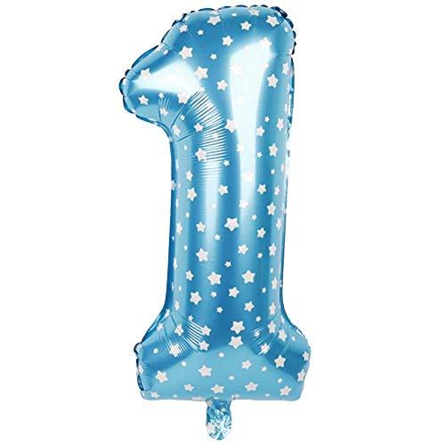 DIWULI, XL Zahlen-Ballon, Zahl 1, Blauer Luftballon Sterne, Zahlenluftballon, Folien-Luftballons Nummer Nr Jahre, Folien-Ballons 1. Geburtstag, Kindergeburtstag Junge Mädchen, Baby-Party, Dekoration