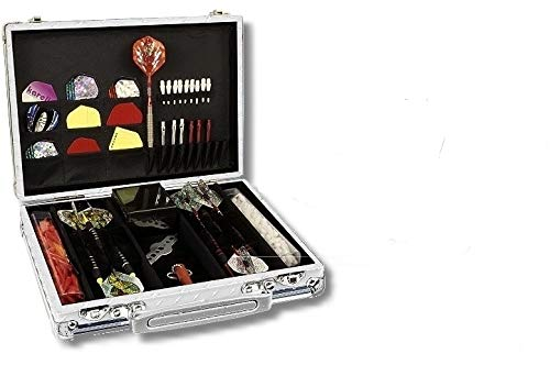 Dartkoffer Luxus, Farbe Silber/Aluminium Aluminium mit attraktiver Alu-Umrandung.