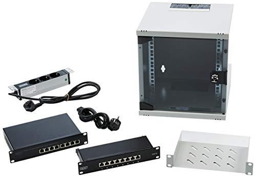 DIGITUS 10-Zoll Set - Netzwerk-Schrank 6HE - Fachboden - Steckdosenleiste - 8-Port Patch-Panel - 8-Port Gigabit-Switch