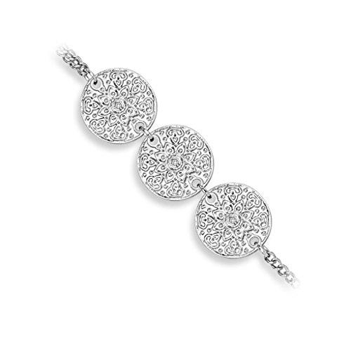 Bungsa® Handkette Lotusblüte 3fach Slave Chain für Damen Silber Brass (Slave- Kette Armband Fingerring Fingerkette Handschmuck)