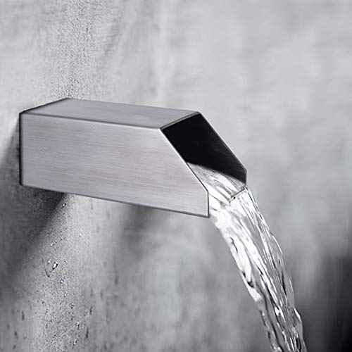 YUDA 2' Square Water Fountain Spout, 316 Nickel Brushed Stainless Steel Spillway Fountain for Outdoor Garden Pool Pond Fountain Water Feature