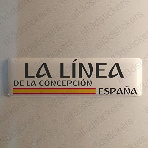 Pegatina La Linea de la Concepcion España Resina, Pegatina Relieve 3D Bandera La Linea de la Concepcion España 120x30mm Adhesivo Vinilo