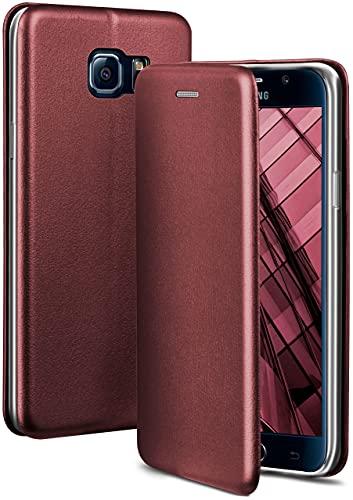 ONEFLOW Handyhülle kompatibel mit Samsung Galaxy S6 - Hülle klappbar, Handytasche mit Kartenfach, Flip Case Call Funktion, Leder Optik Klapphülle mit Silikon Bumper, Weinrot