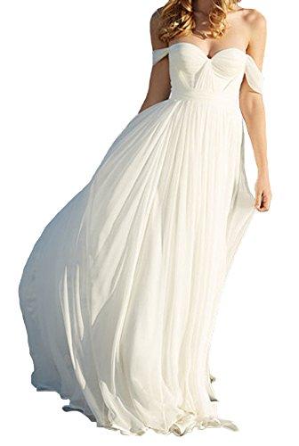 Lovelybride Elegant a Line Empire Long Chiffon Bridal Beach Wedding Dress (US 12, White)