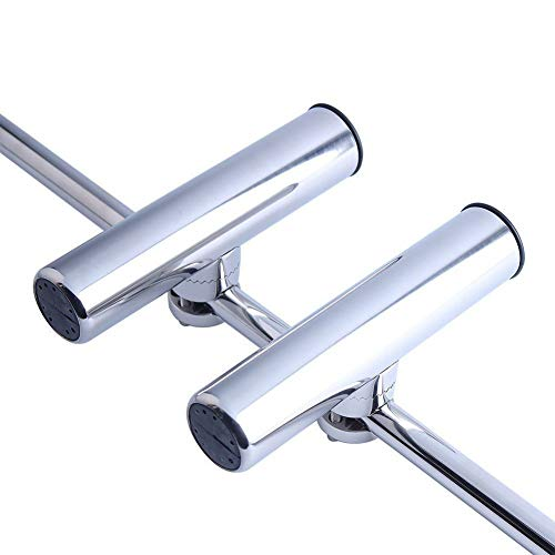 Clamp-on Boat Stainless Steel Fishing Rod Holder for 7/8'' to 1'' Rail Side Mount - Marine Yacht (x2)