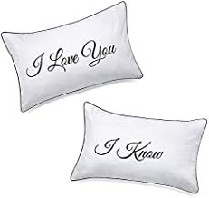 DasyFly His Hers Couples Pillowcases for Girlfriend Boyfriend,I Love You I Know Pillow Cases,Unique Couples Gifts For V-day Wedding Anniversary Engagement Christmas,Romantic Gifts for Him for Her