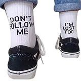 Exing Chaussettes longues unisexes Chaussettes longues en coton avec lettres de lettres drôles Chaussettes style hip hop Chaussettes de skateboard (Blanc)
