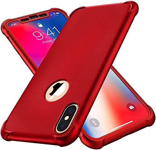 "ORETECH Funda iPhone XS MAX, Funda iPhone XS MAX con [2X Protector de Pantalla de Vidrio Templado] 360°Carcasa Silicona Ligera Delgado PC + TPU Bumper Rubber Caso para iPhone XS MAX Case 6.5""- Rojo"