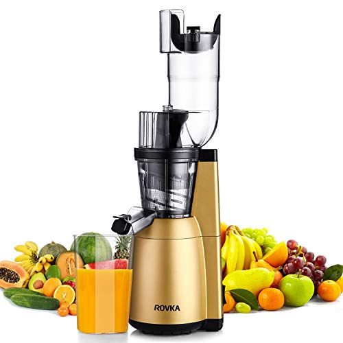 Slow Masticating Juicer, ROVKA High Nutrient and Vitamins Juice Extractor, 3.15 Inches Wide Chute Cold Press Juicer for Vegetable and Fruit