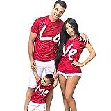 Uomo, Donna e Bambini T-Shirt Pullover con Stampa Lettere di San Valentino Top Abiti per la Famiglia (Bambino, 90cm Altezza Rosso)
