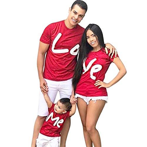 Familiekleding Dasongff mode familie uitgerust met papa en zoon mama en dochter zomer casual ronde hals korte mouwen brief print T-shirt tops zomer Large rood/heren.