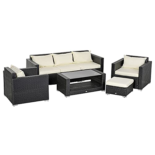 Outsunny 7-teiliges Rattangartenmöbel-Set aus Korbgeflecht für den Wintergarten bestehend aus einem Tisch und Stühlen mit schwarzen Aluminiumrahmen und Kissen