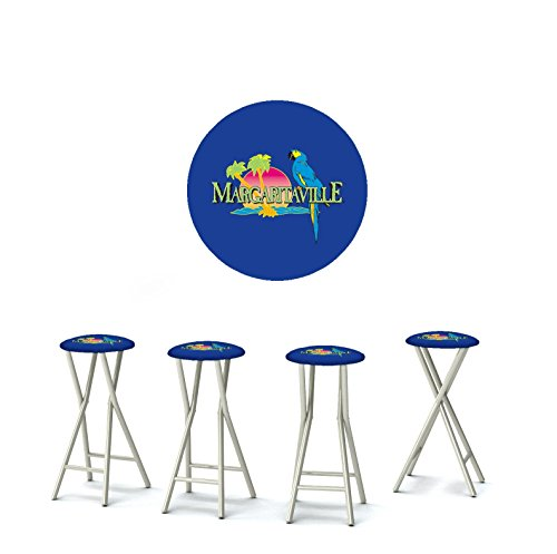 Best of Times 13169W2308 Margaritaville 30' Portable Padded Bar Stools, Fabric Slip Covers with Your Choice of Design, Easily Folds, Set of 4, Blue