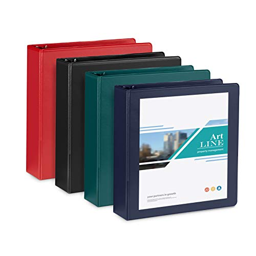 4 Pack 2 Inch 3 Ring Binders, Rugged Design for Home, Office, and School, Designed for of 8.5 Inch x 11 Inch Paper, Black, Navy, Red, Green, 4 Binder Assorted Pack, Made in USA