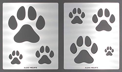 Aleks Melnyk #61 Stencil da Parete Grandi/Stencils in Metallo Riutilizzabili per Pittura, Animali, Zampa di Cane, Gatt/Set da 2 pezzi/Template per Artigianato/Decorazione per la Cameretta dei Bambini