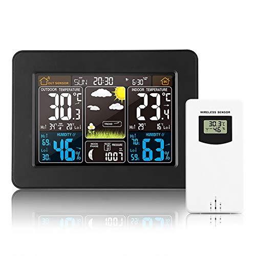 Konesky Funk Wetterstation mit Außensensor Innen und Außen Farbdisplay Multifunktional Digital Thermometer Hygrometer für Zuhause Büro Hausgarten