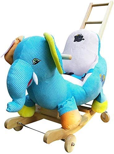 Aaedrag Rocking Horse Music Wood Rocking Chair Toy Small Wooden Horse Children's Dual-use Rocking Cradles Raise The Back of The LED Light Face (Color : Elephant)
